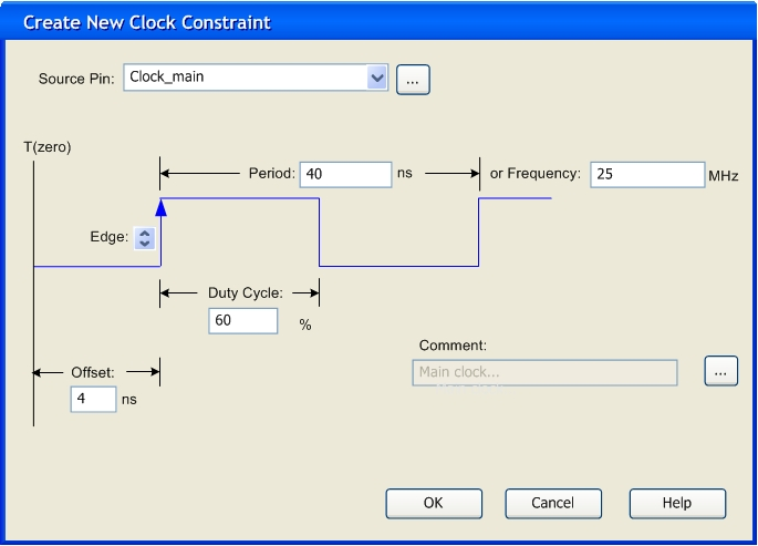 And 60 Duty Cycle Using The SmartTime Constraints Editor Create New Clock Constraint Dialog Box Is Equivalent To SDC Command